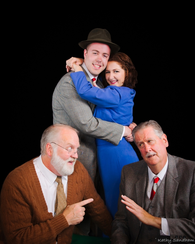 Actors in photo are (L to R): Jack Warren (seated) playing Grandpa J. J. Luster (standing) playing Tony Kirby Cari Meixner (standing) playing Alice Sycamore Bob McCoy (seated) playing Mr. Kirby Photo credit Kathy Sandham
